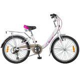 """Детский велосипед со скоростями Novatrack Ancona 20"""" бело-розовый"""