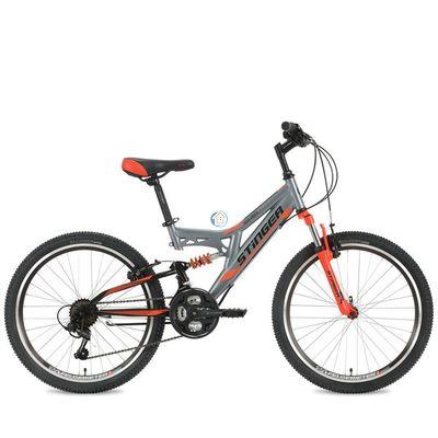 """Подростковый двухподесный велосипед STINGER Highlander 24"""" серый"""
