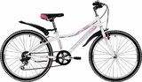 """Женский подростковый велосипед Novatrack Alice 24"""" бело-розовый"""