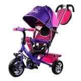 Трехколесный велосипед Barbie с родительской ручкой фиолетовый