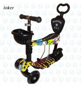 Самокат Scooter Беговел 5в1 принт Джокер с Родительской Ручкой
