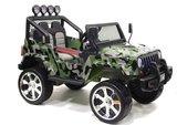 Детский полноприводный электромобиль RiverToys Jeep Т008ТТ 4*4 зеленый камуфляж